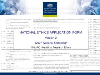 NATIONAL ETHICS APPLICATION FORM Version 2  2007 National Statement NHMRC - Health  Research Ethics