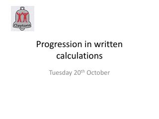 Progression in written calculations