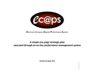 Electronic Compass Aligned Performance System    A simple one page strategic plan  executed through an on-line performan
