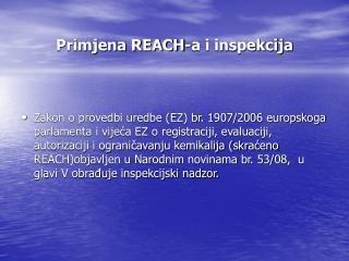 Primjena REACH-a i inspekcija