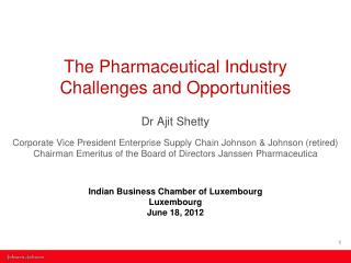 The Pharmaceutical Industry  Challenges and Opportunities