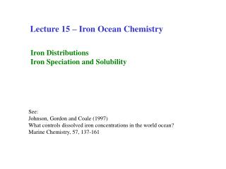 Lecture 15   Iron Ocean Chemistry