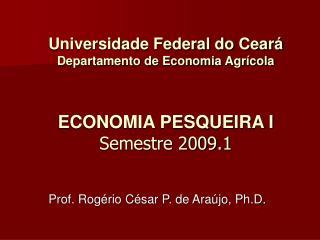 Universidade Federal do Cear  Departamento de Economia Agr cola   ECONOMIA PESQUEIRA I  Semestre 2009.1