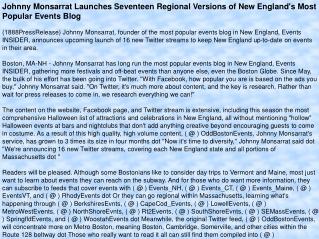 Johnny Monsarrat Launches Seventeen Regional Versions of New