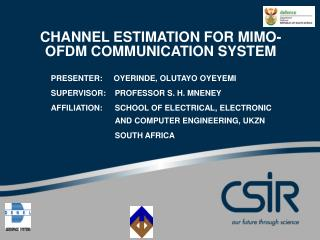 CHANNEL ESTIMATION FOR MIMO-OFDM COMMUNICATION SYSTEM