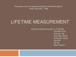 Lifetime measurement