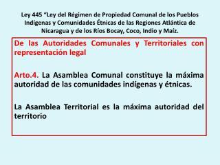 Ley 445  Ley del R gimen de Propiedad Comunal de los Pueblos Ind genas y Comunidades  tnicas de las Regiones Atl ntica d