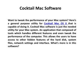 Cocktail Mac Software