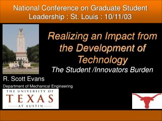 Realizing an Impact from the Development of Technology The Student