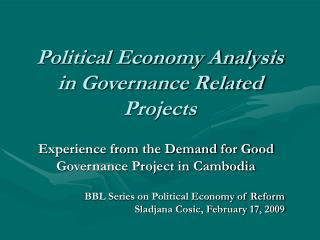 Political Economy Analysis in Governance Related Projects
