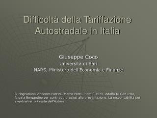 Difficolt  della Tariffazione Autostradale in Italia