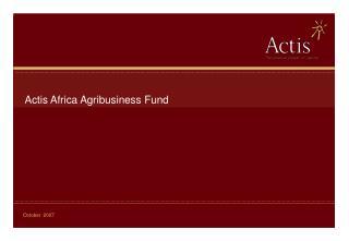 Actis Africa Agribusiness Fund