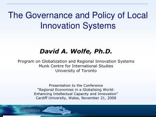 The Governance and Policy of Local Innovation Systems