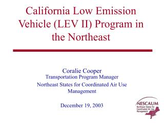 California Low Emission Vehicle LEV II Program in the Northeast