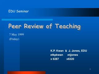 Peer Review of Teaching