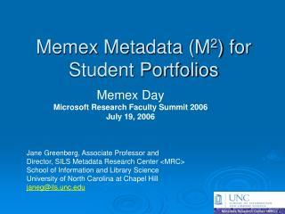 Memex Metadata M2 for Student Portfolios