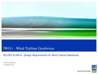 JWG1 - Wind Turbine Gearboxes