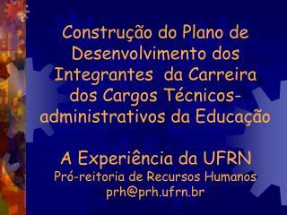 Constru  o do Plano de Desenvolvimento dos Integrantes  da Carreira  dos Cargos T cnicos-administrativos da Educa  o  A