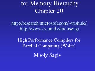 Compiler Optimizations  for Memory Hierarchy Chapter 20  research.microsoft