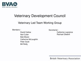 Veterinary Development Council  Veterinary Led Team Working Group