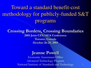 Toward a standard benefit-cost methodology for publicly-funded ST programs