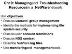 Ch19: Managing and Troubleshooting Resources in a NetWare network