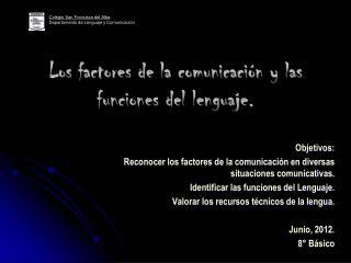 Los factores de la comunicaci n y las funciones del lenguaje.