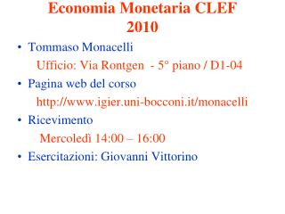 Economia Monetaria CLEF 2010