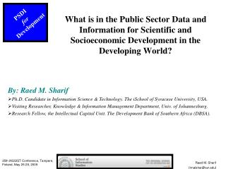 What is in the Public Sector Data and Information for Scientific and Socioeconomic Development in the Developing World