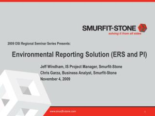 Environmental Reporting Solution ERS and PI