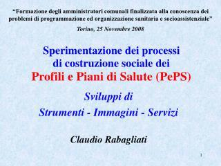 Sperimentazione dei processi di costruzione sociale dei Profili e Piani di Salute PePS