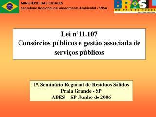 Lei n 11.107 Cons rcios p blicos e gest o associada de servi os p blicos