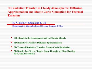 3D Radiative Transfer in Cloudy Atmospheres: Diffusion Approximation and Monte Carlo Simulation for Thermal Emission