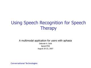 Using Speech Recognition for Speech Therapy