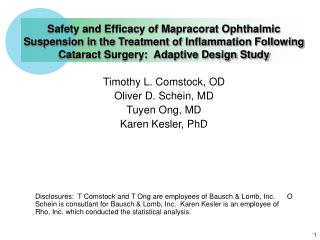 Safety and Efficacy of Mapracorat Ophthalmic Suspension in the Treatment of Inflammation Following Cataract Surgery:  Ad