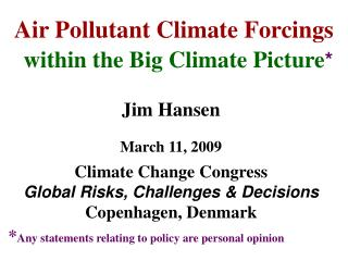 Air Pollutant Climate Forcings