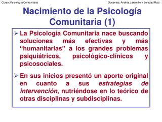 Nacimiento de la Psicolog a Comunitaria 1