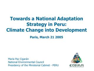Mar a Paz Cigar n National Environmental Council Presidency of the Ministerial Cabinet - PERU