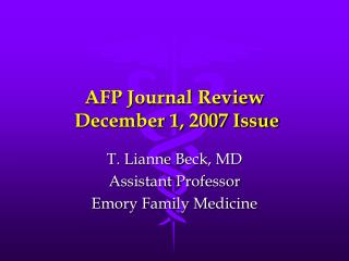 AFP Journal Review  December 1, 2007 Issue