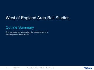 West of England Area Rail Studies