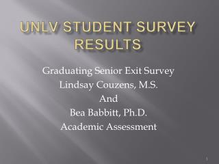 UNLV Student Survey Results