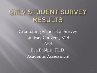 UNLV Student Survey Results