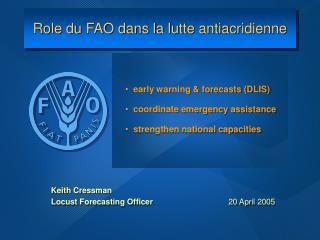 Role du FAO dans la lutte antiacridienne