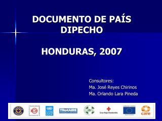 DOCUMENTO DE PA S DIPECHO  HONDURAS, 2007