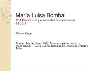 Mar a Luisa Bombal