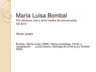 Mar a Luisa Bombal