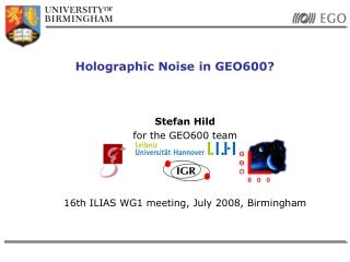 Holographic Noise in GEO600