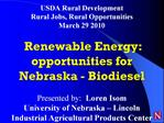 USDA Rural Development Rural Jobs, Rural Opportunities March 29 2010   Renewable Energy: opportunities for Nebraska - Bi