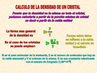 CALCULO DE LA DENSIDAD DE UN CRISTAL