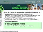 EPS                        et LIVRET PERSONNEL                       DE COMPETENCES  LPC